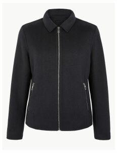 M&S Collection Brushed Wool Harrington Jacket