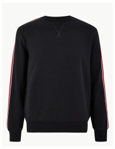 M&S Collection Pure Cotton Striped Sleeve Sweatshirt