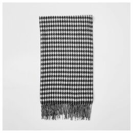 Mens River Island Black dogstooth check print scarf
