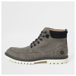 Mens River Island Grey faux suede lace up boots