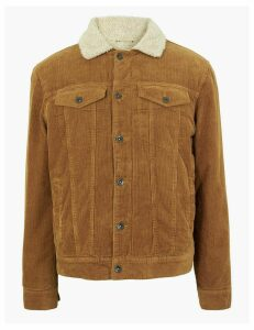 M&S Collection Pure Cotton Corduroy Borg Lined Jacket