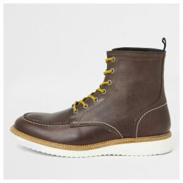 Mens River Island Select Homme Brown leather lace-up boots