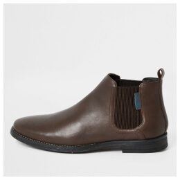 Mens River Island Dark Brown leather low Chelsea boots