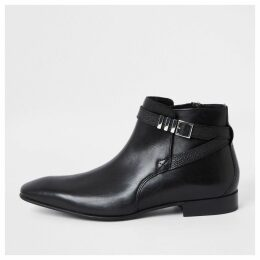 Mens River Island Black leather pointed toe buckle boot