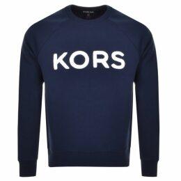Michael Kors Crew Neck Terry Logo Sweatshirt Navy