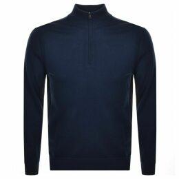 Michael Kors Half Zip Merino Sweatshirt Navy