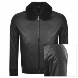 BOSS Casual Jendar Leather Jacket Black