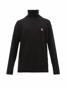 Loewe - Anagram Embroidered Roll Neck Wool Sweater - Mens - Black