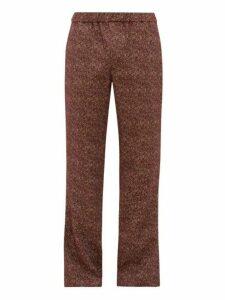 Schnayderman's - Mélange Jacquard Cotton Blend Trousers - Mens - Burgundy