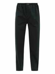Balenciaga - Striped Straight Leg Cotton Poplin Trousers - Mens - Black Green