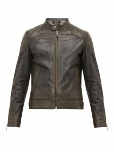 Belstaff - Outlaw Quilted Panel Leather Jacket - Mens - Black