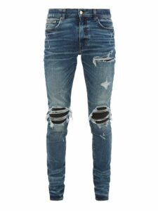 Amiri - Mx1 Leather-panel Distressed Skinny-leg Jeans - Mens - Indigo