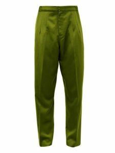 Marques'almeida - High Rise Silk Doupioni Trousers - Mens - Khaki
