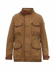 Belstaff - Journey Leather Trimmed Canvas Field Jacket - Mens - Khaki