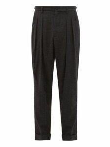 Giorgio Armani - Tapered Double Pleated Virgin Wool Trousers - Mens - Dark Grey
