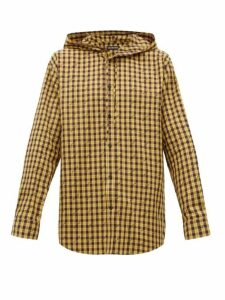 Balenciaga - Hooded Logo Print Tartan Cotton Shirt - Mens - Black Yellow