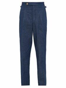 King & Tuckfield - Pleated Denim Trousers - Mens - Indigo