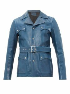 Givenchy - Belted Leather Jacket - Mens - Blue