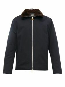 Dunhill - Shearling Lined Cotton Faille Jacket - Mens - Blue