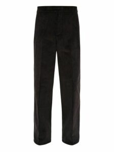Dunhill - Wide Leg Cotton Corduroy Trousers - Mens - Black