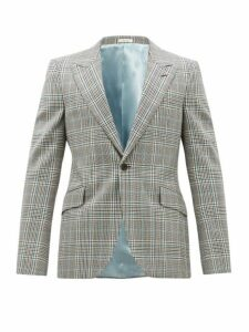 Alexander Mcqueen - Single Breasted Checked Wool Jacket - Mens - Grey Multi