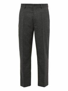 Hope - Striped Herringbone Twill Slim Leg Trousers - Mens - Grey