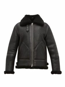 Acne Studios - Ian Leather And Shearling Jacket - Mens - Black