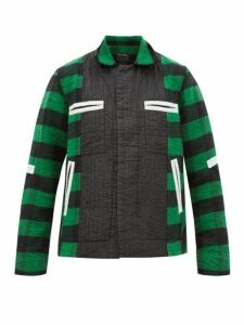 Craig Green - Shell Trimmed Checked Cotton Blend Jacket - Mens - Green
