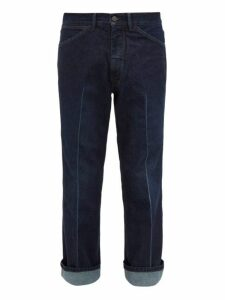 Lemaire - Pressed Pleat Straight Leg Jeans - Mens - Indigo