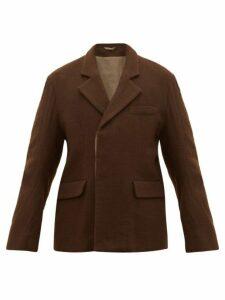 Ann Demeulemeester - Single Breasted Cotton Blend Felt Jacket - Mens - Brown
