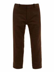 Ann Demeulemeester - Cropped Cotton Blend Felt Trousers - Mens - Brown