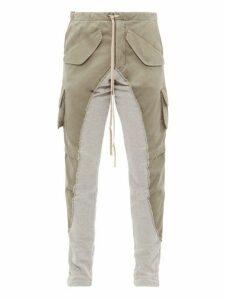 Greg Lauren - 50/50 Army Panel Cotton Twill Track Pants - Mens - Grey