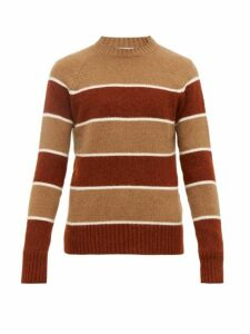 Ami - Striped Knitted Sweater - Mens - Beige