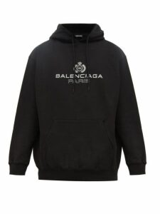 Balenciaga - Crest Logo Print Cotton Hooded Sweatshirt - Mens - Black