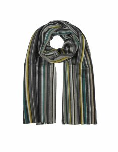 Paul Smith Designer Men's Scarves, Slate Multi Stirped Men's Scarf
