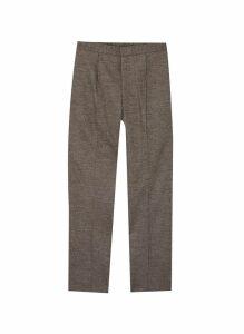 Elastic waistband pleated pants