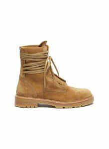 Wraparound tie suede combat boots