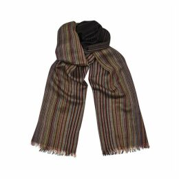 Paul Smith Black Striped Wool Scarf