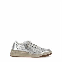 Saint Laurent SL24 Silver Distressed Leather Sneakers