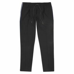 BOSS Navy Tapered Stretch-twill Trousers