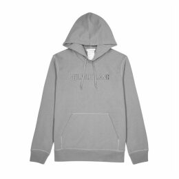 Helmut Lang Grey Logo-embroidered Cotton Sweatshirt