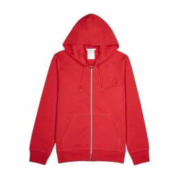 Helmut Lang Red Logo-embroidered Cotton Sweatshirt