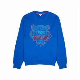 Kenzo Blue Tiger-embroidered Cotton Sweatshirt