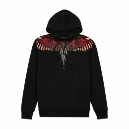Marcelo Burlon Geometric Wings Hooded Cotton Sweatshirt