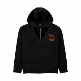 Marcelo Burlon Black Flocked Cotton-jersey Sweatshirt