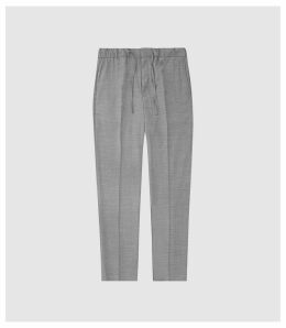 Reiss Solomeo - Wool Blend Drawstring Trousers in Grey, Mens, Size 38