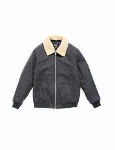 Mens Grey Light Check Faux Wool Bomber Jacket, GREY