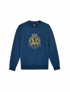 Mens Navy Heraldic Embroidered Sweatshirt, Navy