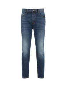 Mens Blue Vintage Whiskered Carrot Fit Jeans, Blue