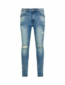 Mens Acid Green Tint Wash Ethan Super Skinny Fit Jeans, Blue